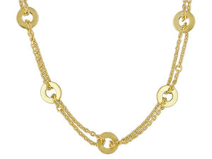 Polished Disk 18k Yellow Gold Over Bronze Necklace.