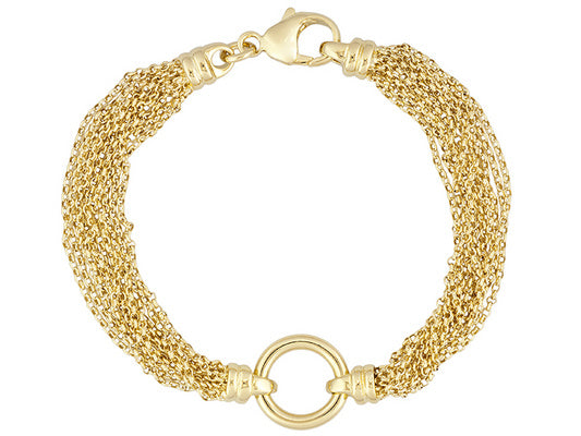 Polished Station Multi-strand 18k Yg Over Bronze Bracelet