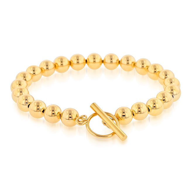 18K Gold-Plated Bronze Beaded Toggle Bracelet