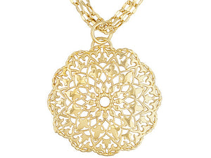 Double Link 18k Yellow Gold Over Bronze Necklace With Flower Medallion.