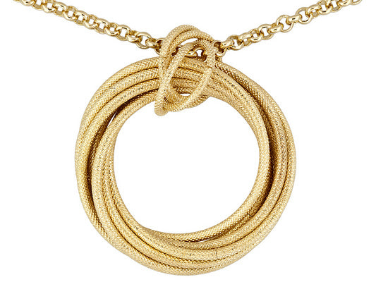 Textured 18k Yellow Gold Over Bronze Multi Circle Necklace.