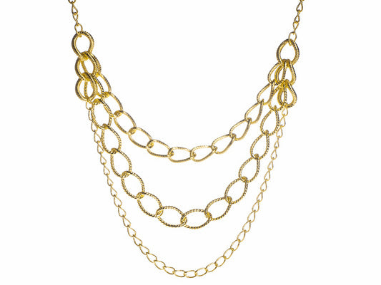 Textured & Twisted Oval Link 18k Yg Over Bronze Necklace