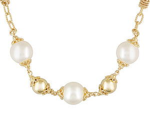 Polished And Textured 18k Yg Over Bronze With Shell Pearl Necklace
