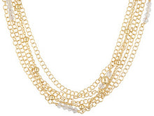 Load image into Gallery viewer, Multi-strand With Swarovski Elements 18k Yellow Gold Over Bronze Necklace.