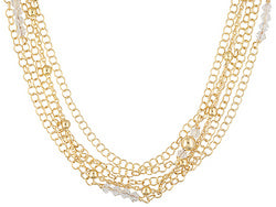 Multi-strand With Swarovski Elements 18k Yellow Gold Over Bronze Necklace.
