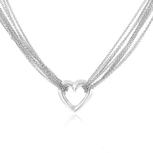 Load image into Gallery viewer, Hit the town in style with the Italian crafted Multi-Strand Heart Necklace.