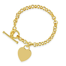 Load image into Gallery viewer, Gold Over Bronze Toggle Heart Bracelet