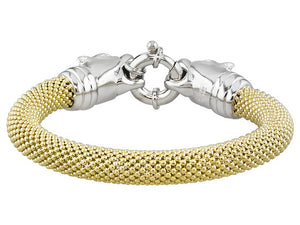 Panther Design 18k Yellow Gold And Rhodium Plating Over Bronze Bracelet - 8""