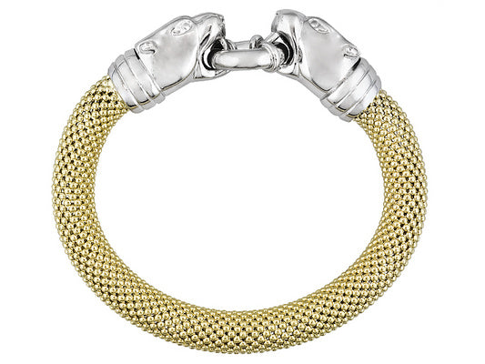Panther Design 18k Yellow Gold And Rhodium Plating Over Bronze Bracelet - 8