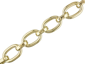 Oval Link 18k Yellow Gold Over Bronze Toggle Bracelet