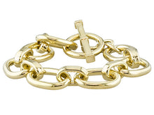Load image into Gallery viewer, Oval Link 18k Yellow Gold Over Bronze Toggle Bracelet