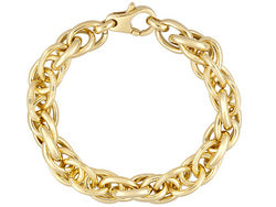 Polished Rigato Design 18k Yg Over Bronze Bracelet