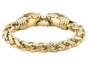 Polished Fancy Link 18k Yg Over Bronze Bracelet With Panther Closure