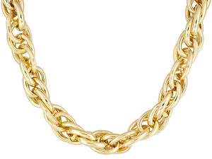 Polished Rigato Design 18k Yellow Gold Over Bronze Necklace.