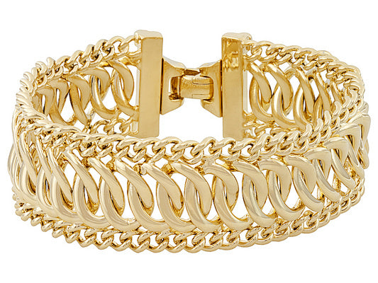 Fancy Curb Link 18k Yellow Gold Over Bronze Bracelet