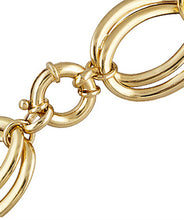 Load image into Gallery viewer, Polished Double Oval Link 18k Yellow Gold Over Bronze Necklace.