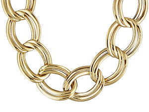 Polished Double Oval Link 18k Yellow Gold Over Bronze Necklace.