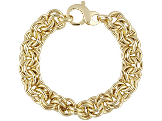 Polished Double Circle Link 18k Yellow Gold Over Bronze Bracelet