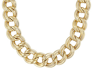 Linear Garibaldi Double Link 18k Yellow Gold Over Bronze Necklace.