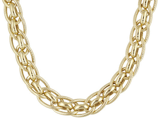 Textured And Polished, Round And Oval Link 18k Yg Over Bronze Necklace