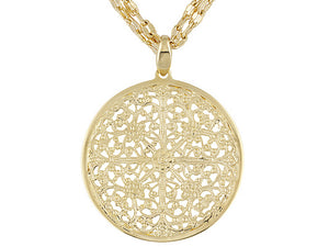 Double Link 18k Yellow Gold Over Bronze Adjustable Necklace With Medallion.