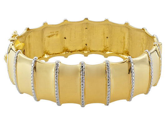 0.02ctw Diamond Accent 18k Yg And Rhodium Plating Over Bronze Bracelet