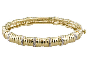 Diamond Accent YG Over Bronze Bamboo Bangle