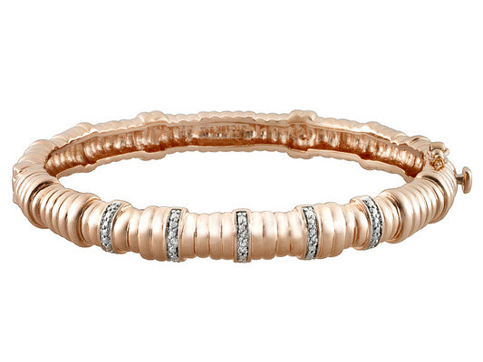 Pink Gold Over Bronze Bamboo Bangle