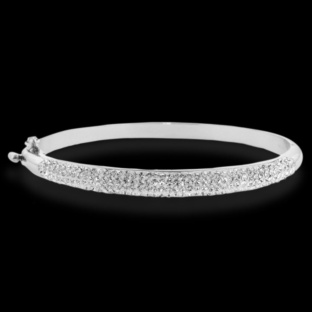 Platinum Over Bronze White Crystal Bangle