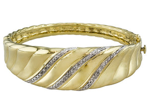Polished Swirl Design With Diamond Accent 18k Yg Over Bronze Bracelet
