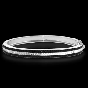 Platinum Over Bronze Black Striped Bangle