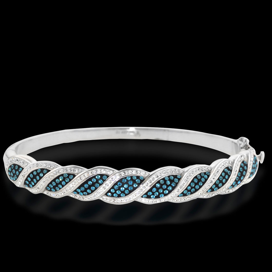 Platinum Over Bronze Blue Crystal Kite Bangle