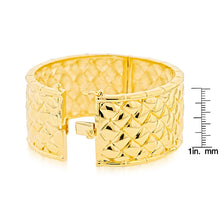 Load image into Gallery viewer, Gold-Plated Bronze Basket Weave Bangle Bracelet
