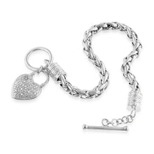 Load image into Gallery viewer, EuroPlatinum Diamond Heart Bracelet - 7.5""