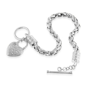 EuroPlatinum Diamond Heart Bracelet - 7.5""