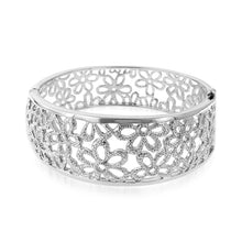 Load image into Gallery viewer, Floral Bangle in Platinum over Bronze