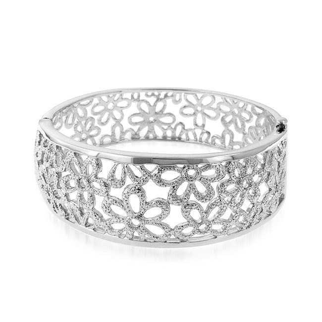 Floral Bangle in Platinum over Bronze