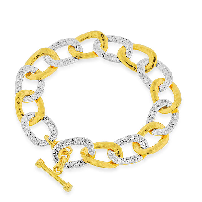 1/4 Carat tw Diamond Link Bracelet in Gold Over Bronze