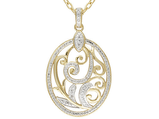 0.02ctw Diamond Polished 18k Yellow Gold And Rhodium Plating Over Bronze Pendant With Chain.