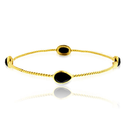 4.00 Carat tw Onyx Twist Bangle in 18K Gold over Bronze