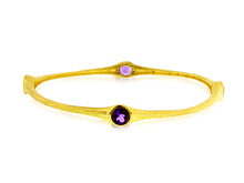 Load image into Gallery viewer, 3.20 Carat tw Amethyst Bamboo Bangle in Gold over Bronze
