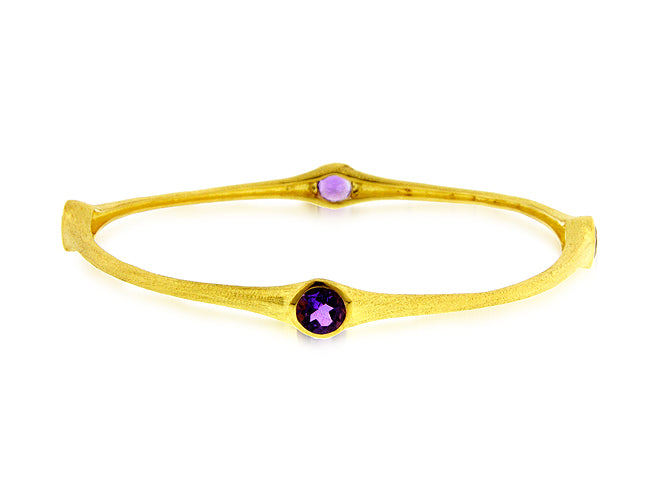 3.20 Carat tw Amethyst Bamboo Bangle in Gold over Bronze