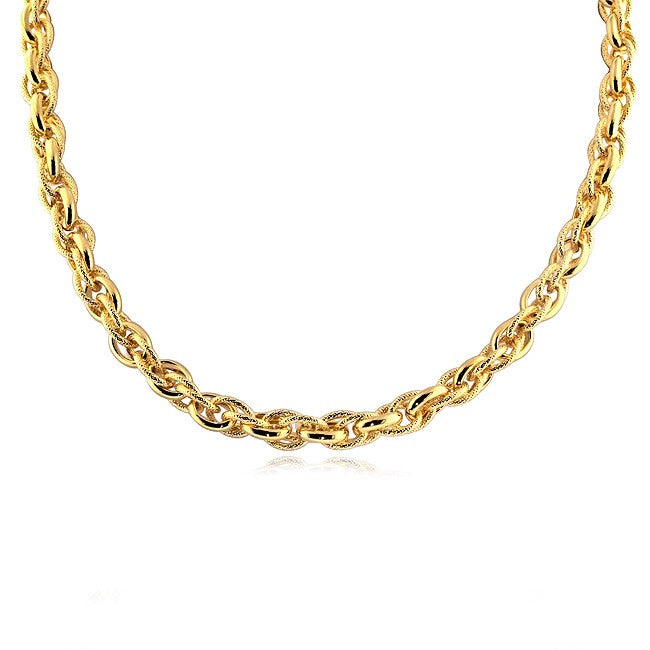 Gold-Plated Bronze Polished & Textured Link Bracelet