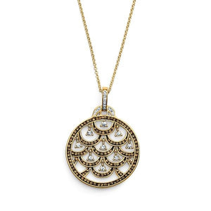 Yellow Gold Over Bronze Crystal Medallion Pendant with Chain