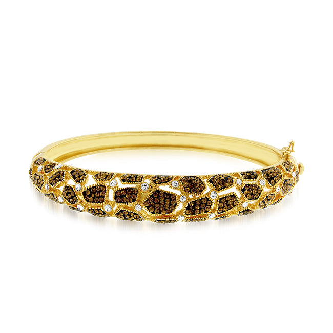 Smoky Topaz Safari Bangle in Gold over Bronze