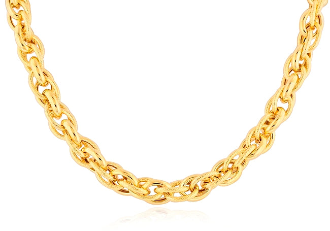 Gold-Plated Bronze Polished & Textured Link Necklace