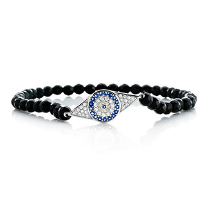 Black evil eye bracelet for Women in Sterling Silver