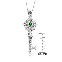Load image into Gallery viewer, 1/5 Carat Emerald Celtic Key Pendant in Sterling Silver