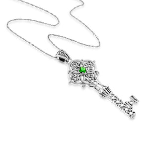 1/5 Carat Emerald Celtic Key Pendant in Sterling Silver