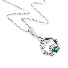 Load image into Gallery viewer, 1/4 Carat Emerald & White Sapphire Claddagh Pendant in Sterling Silver